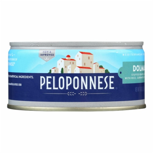 Peloponnese Dolmass Stuffed Grape Leaves - Raisins and Pine Nuts - Case of 6 - 10 oz. Perspective: front