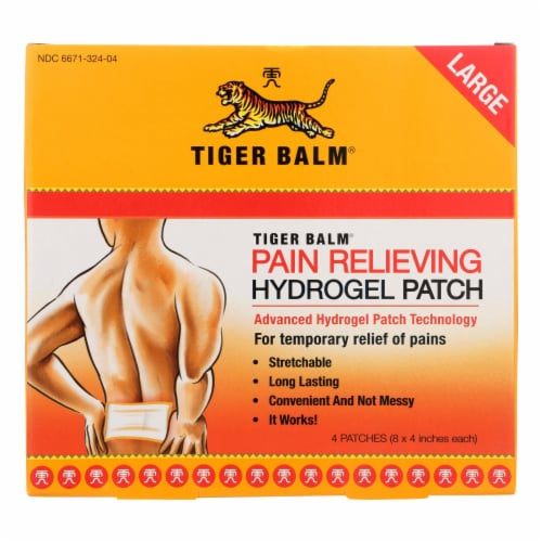 Tiger Balm Pain Relieving Large Patches - Case of 6 - 4 Pack Perspective: front