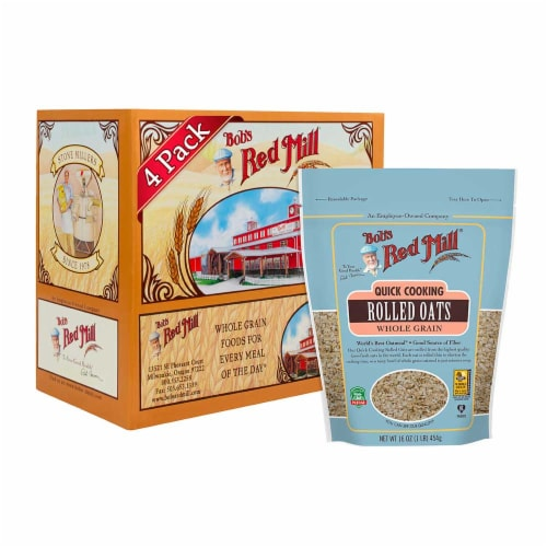 Bobs Red Mill Quick Cooking Rolled Oats, 16 Ounce -- 4 per case. Perspective: front