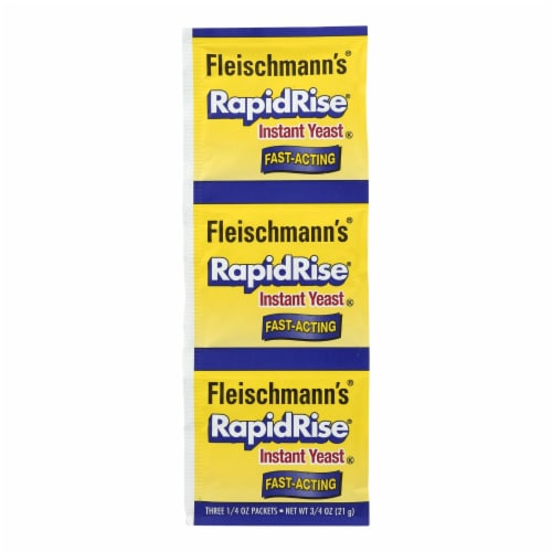 Fleischmann's Classic Yeast - RapidRise - 3 Packets - .75 oz - Case of 20 Perspective: front