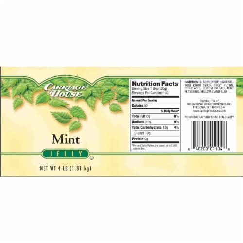 Carriage House Home Brand Mint Jelly, 4 Pound -- 6 per case. Perspective: front