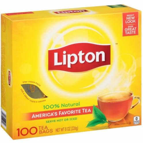 Lipton Regular Tea Bag - 100 per pack -- 12 packs per case. Perspective: front