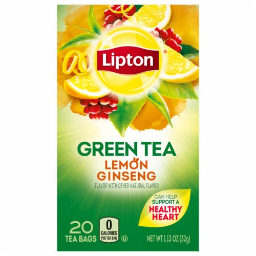 Lipton Lemon Ginseng Green Bags 20 ct (Pack of 6) Perspective: front