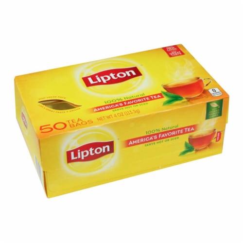 Lipton Regular Black Tea, 50 tea bags per pack, 12 per case Perspective: front