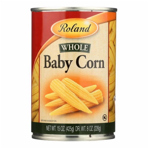 Roland Whole Baby Corn - Case of 24 - 15 oz. Perspective: front