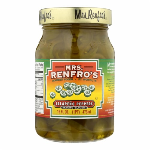 Mrs. Renfro's Nacho Sliced Jalapeno Peppers - Pepper - Case of 6 - 16 oz. Perspective: front
