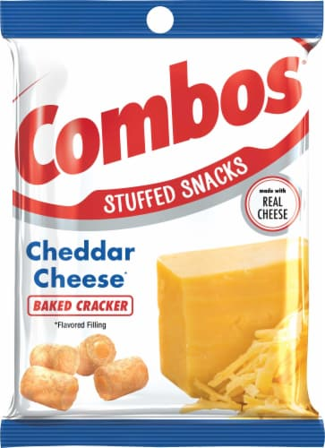 Combos Cheddar Cheese Baked Cracker Snacks Perspective: front