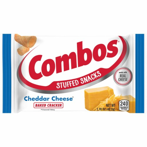 Combos Cheddar Cheese Cracker Singles Snacks - 18 count per pack -- 12 packs per case. Perspective: front