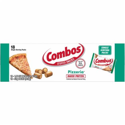 Combos Pizzeria Pretzel Singles Snacks - 18 count per pack -- 12 packs per case. Perspective: front