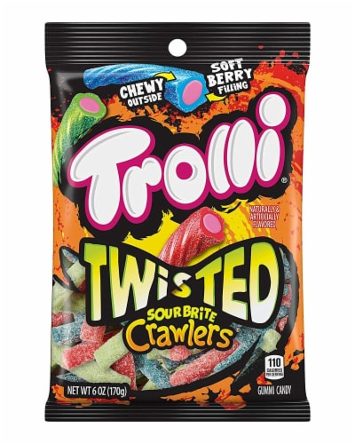 Trolli Twisted Sour Brite Crawlers 8 Count Perspective: front