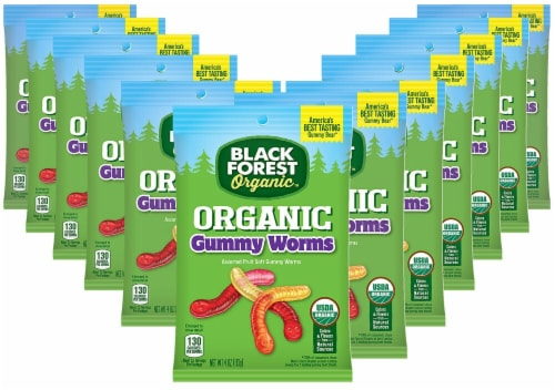Black Forest  Organic Gummy Worms Candy Gluten Free   Assorted Fruit Perspective: front