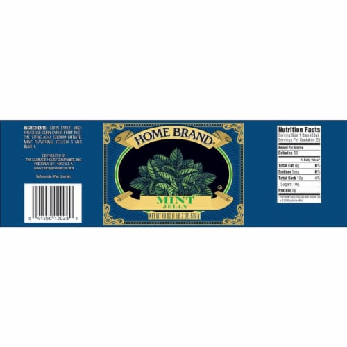 Carriage House Home Brand Mint Jelly, 18 Ounce -- 12 per case. Perspective: front