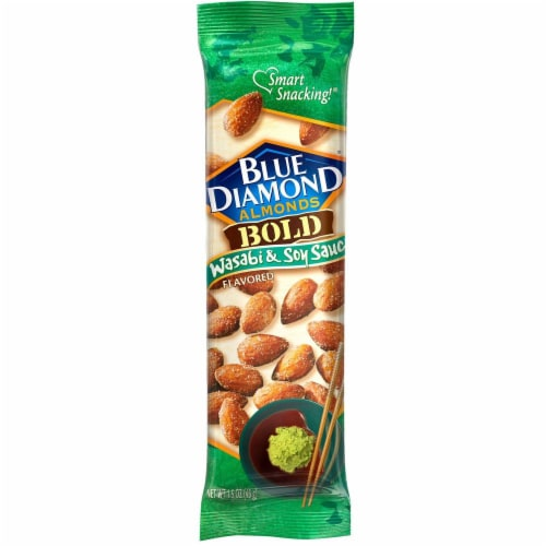 Blue Diamond Wasabi and Soy Sauce Almonds, 1.5 Ounce -- 12 per case. Perspective: front