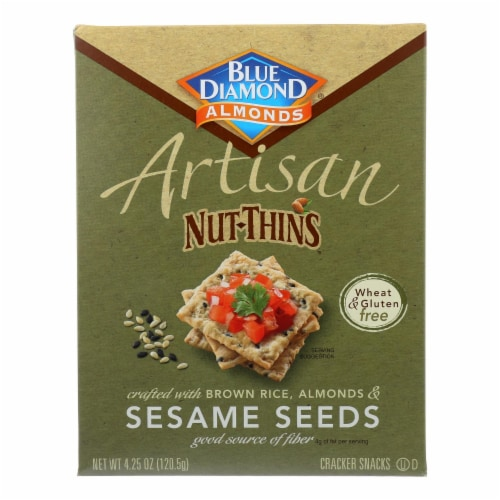 Blue Diamond - Artesion Nut Thins - Sesame Seed - Case of 12 - 4.25 oz. Perspective: front