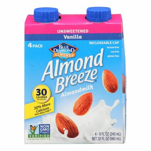 Almond Breeze - Almond Milk - Unsweetened Vanilla - Case of 6 - 4/8 oz. Perspective: front