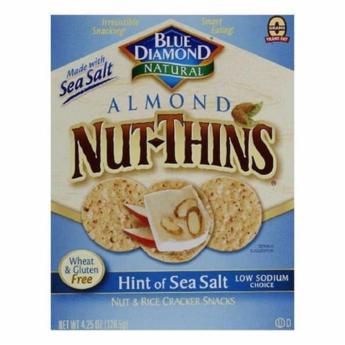 Blue Diamond Almonds Mini Nut Thins Rice Crackers Hint of Sea Saly, 4.4oz (Pack of 6) Perspective: front