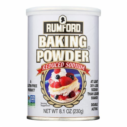 Rumford Baking Powder - Reduced Sodium - Case of 12 - 8.1 oz. Perspective: front