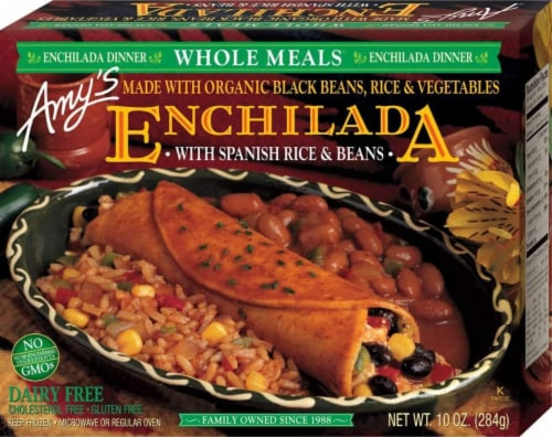 Amy's Vegetarian, Black Bean Vegetable Enchilada (Gluten/Dairy Free), 10 oz. (12 Count) Perspective: front