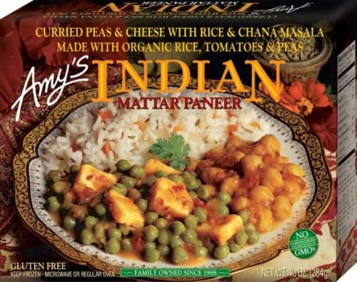 Amy's Vegetarian, Indian Mattar Paneer (Gluten Free), 10 oz. (12 Count) Perspective: front