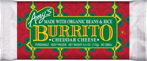 Amy's Bean and Cheddar Cheese Burrito Perspective: front
