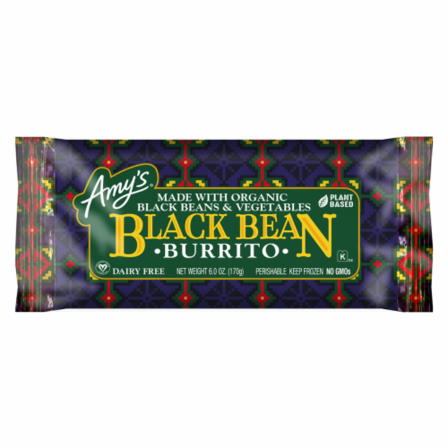 Amy's Vegetarian, Black Bean Vegetable Burrito (Dairy Free), 6 oz. (12 Count) Perspective: front