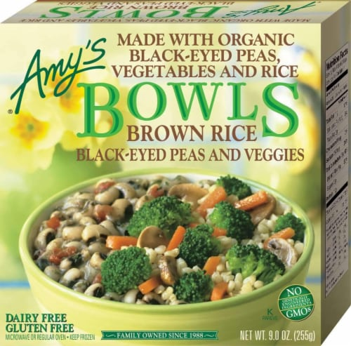 Amy's Vegetarian, Brown Rice, Black Eyed Peas & Veggies Bowl, 9 oz. (12 Count) Perspective: front