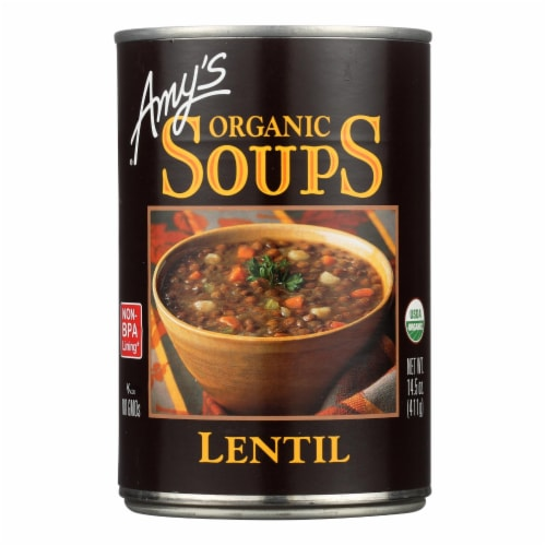 Amy's Organic Lentil Soup Perspective: front