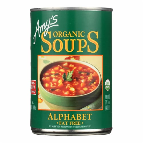 Amy's Organic Alphabet Soup Perspective: front