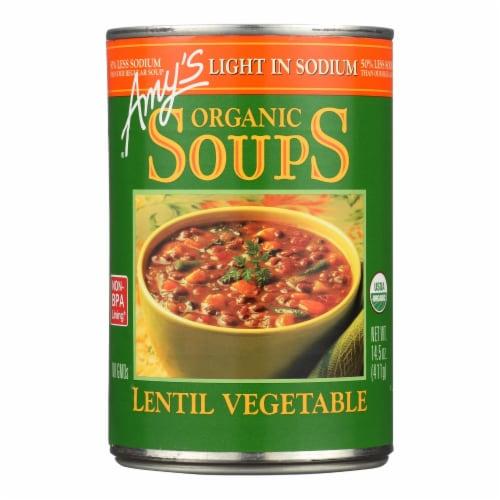 Amy's - Organic Lentil Vegetable Soup - Low Sodium - 14.5 oz Perspective: front
