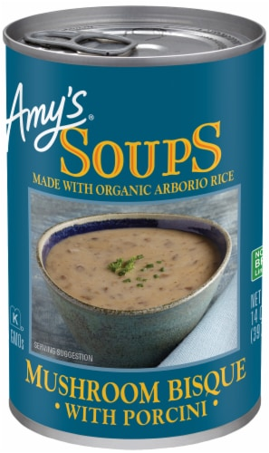 Amy's Mushroom Bisque with Porcini Soup Perspective: front