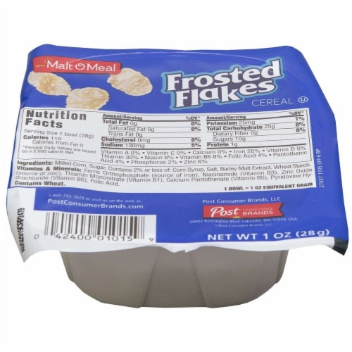Malt-O-Meal Frosted Flakes Single Serve Bowl Pack Cereal, 1 Ounce -- 96 per case. Perspective: front