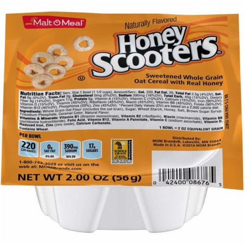 Malt O Meal Honey Nut Scooters Sweetened Whole Grain Oat Cereal, 2 Ounce -- 48 per case. Perspective: front