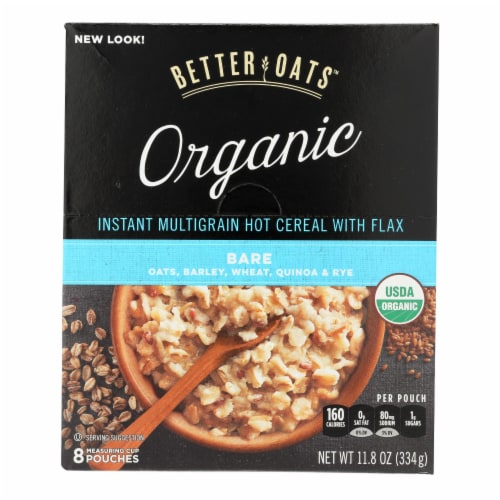 Better Oats Organic Instant Multigrain Hot Cereal - Bare - Case of 6 - 11.8 oz. Perspective: front