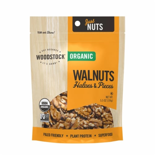 Woodstock Organic Walnuts Halves and Pieces - Case of 8 - 5.5 OZ Perspective: front