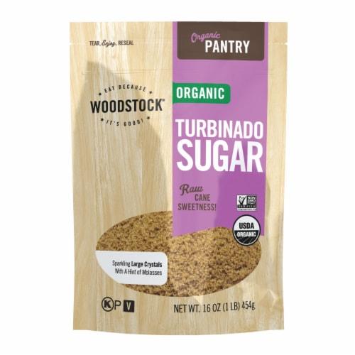 Woodstock Organic Turbinado Sugar - Case of 12 - 16 OZ Perspective: front