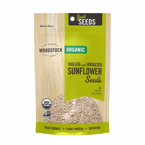Woodstock Organic Hulled and Unsalted Sunflower Seeds - Case of 8 - 12 OZ Perspective: front
