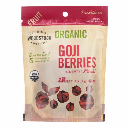 Woodstock - Organic Goji Berries - Case of 8 - 4 oz. Perspective: front