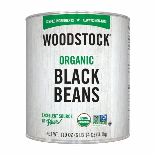 Woodstock Organic Black Beans - Case of 6 - 110 OZ Perspective: front