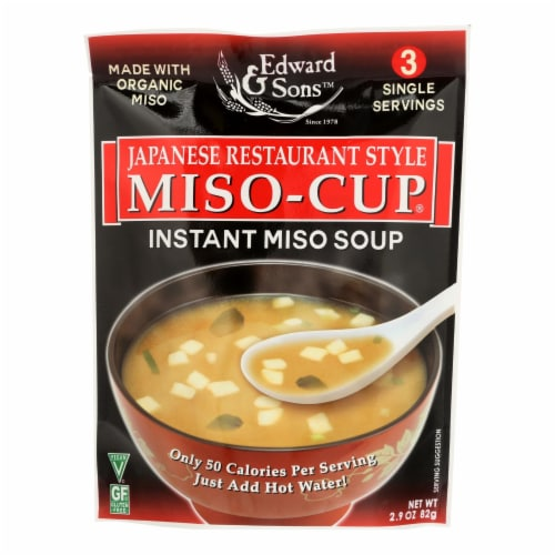 Edward and Sons Miso Cup Soup - Japanese Restaurant Style - Case of 6 - 2.9 oz. Perspective: front