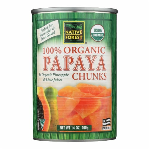 Native Forest Organic Chunks - Papaya - Case of 6 - 14 oz. Perspective: front