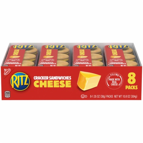 Nabisco Ritz Sandwich with Cheese Cracker, 1.35 Ounce, 8 per pack -- 14 packs per case Perspective: front