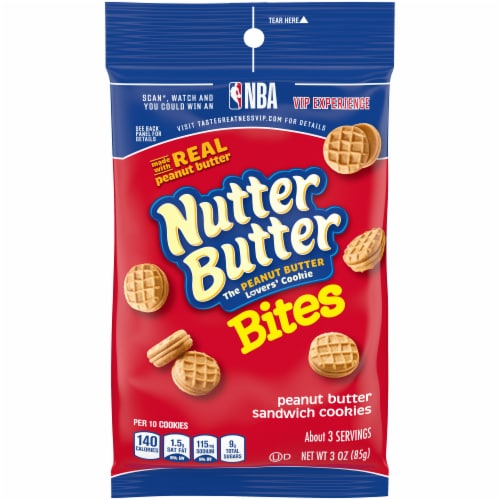 Kraft Nabisco Nutter Butter Bites Sandwich Cookies - Peanut Butter, 3 Ounce -- 12 per case Perspective: front
