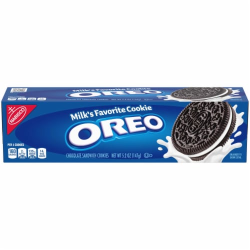 Kraft Nabisco Oreo Chocolate Cream Sandwich Cookies, 5.25 Ounce -- 12 per case. Perspective: front