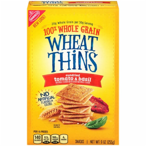 Wheat Thins Sundried Tomato and Basil Cracker, 9 Ounce -- 6 per case. Perspective: front