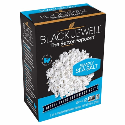 Black Jewell Simply Sea Salt Popcorn, 10.5 Oz (Pack of 6) Perspective: front