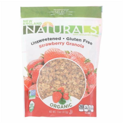 New England Naturals Organic Unsweetened Gluten-Free Strawberry Granola, 11oz (Pack of 6) Perspective: front