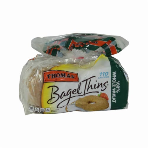 Thomas 100 Percent Whole Wheat Thin Bagel, 1.63 Ounce -- 128 per case. Perspective: front