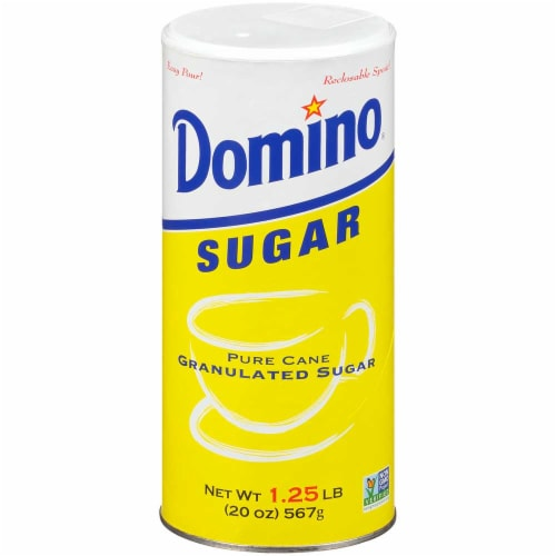 Domino Pure Cane Granulated Sugar Canister, 20 ounce -- 24 per case Perspective: front