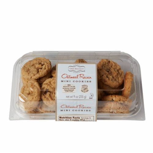 Our Specialty Mini Oatmeal Raisin Cookies, Fresh Baked Flavor, 9oz (Pack of 9) Perspective: front