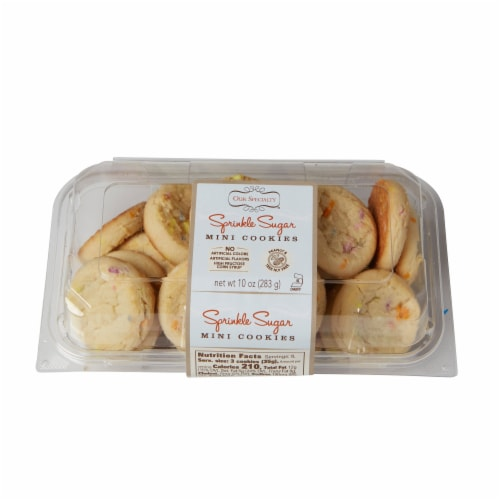 Our Specialty Mini Sugar Cookies with Sprinkles, Fresh Baked Flavor, 9oz (Pack of 9) Perspective: front